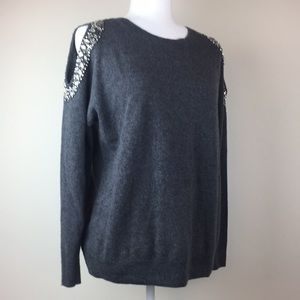 INC beaded cold shoulder gray sweater.